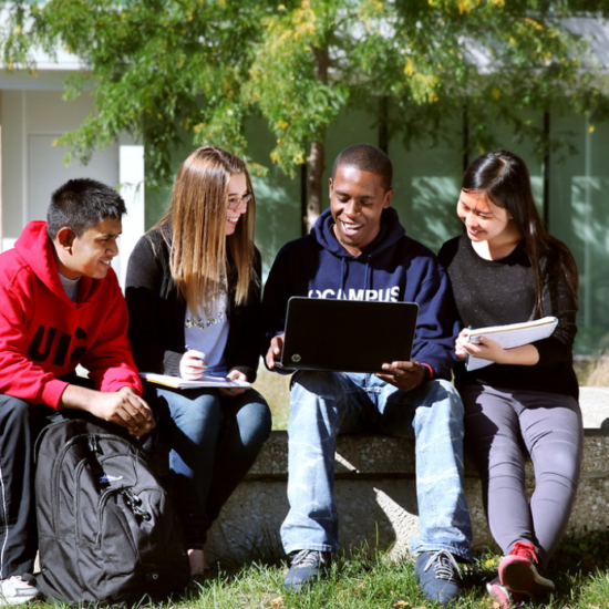 UIC students studying outside
