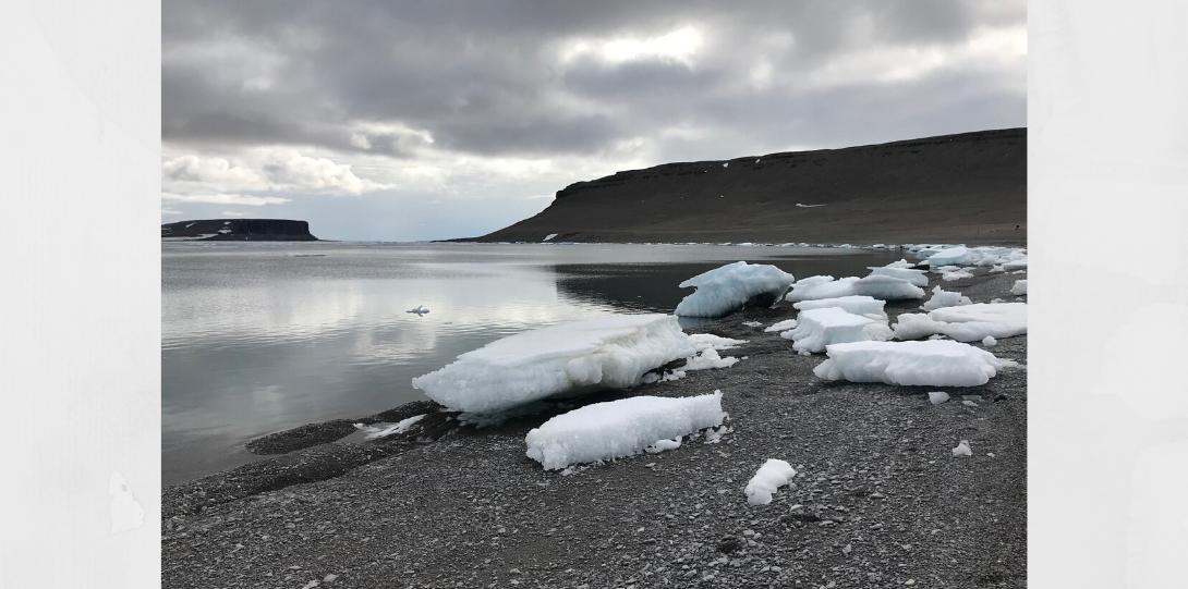 ice on a rocky beach