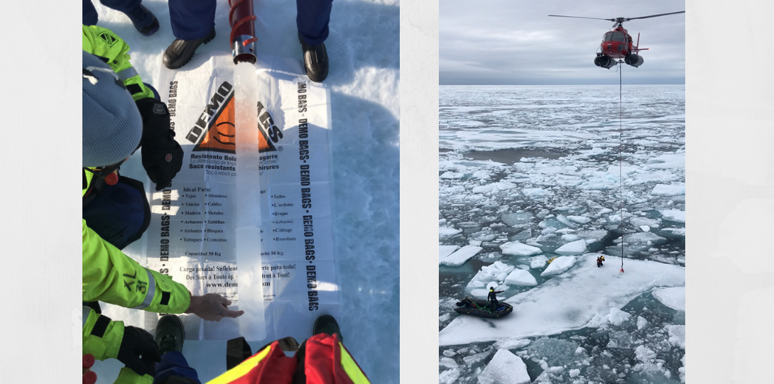 image of ice core and image of helicopter over icy water